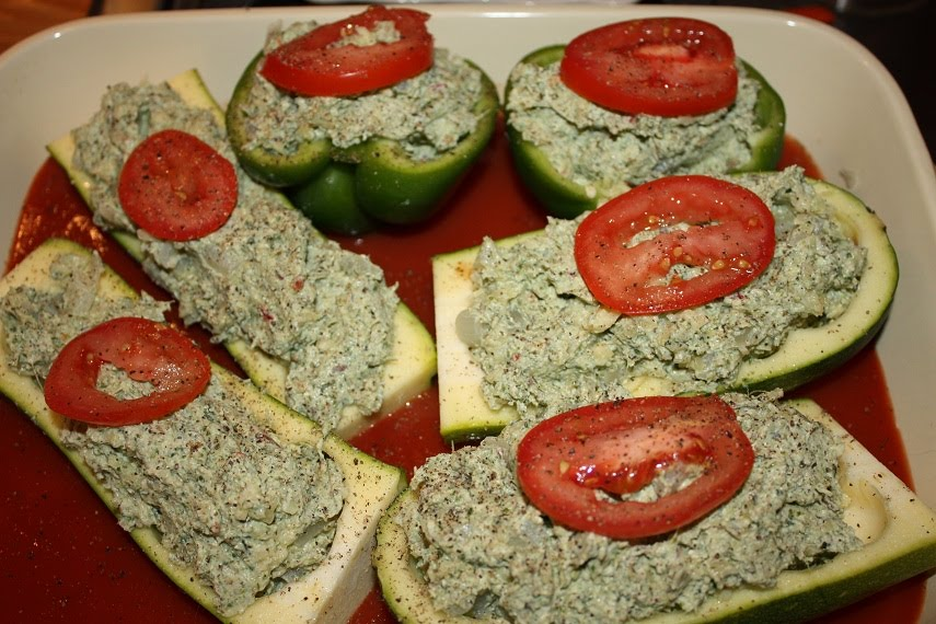 stuffed zucchini uncooked - reduced