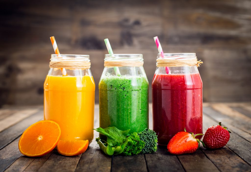 Healthy fruit and vegetable smoothies in the jar